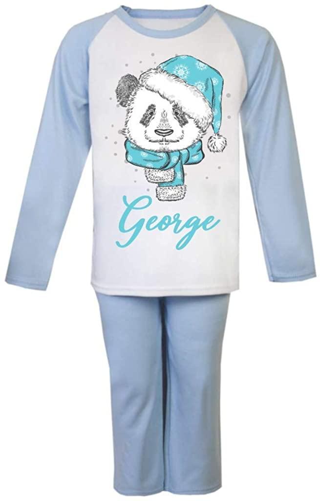 Personalised Winter Panda Blue Pajamas Girls Boys Gifts Nightwear Custom