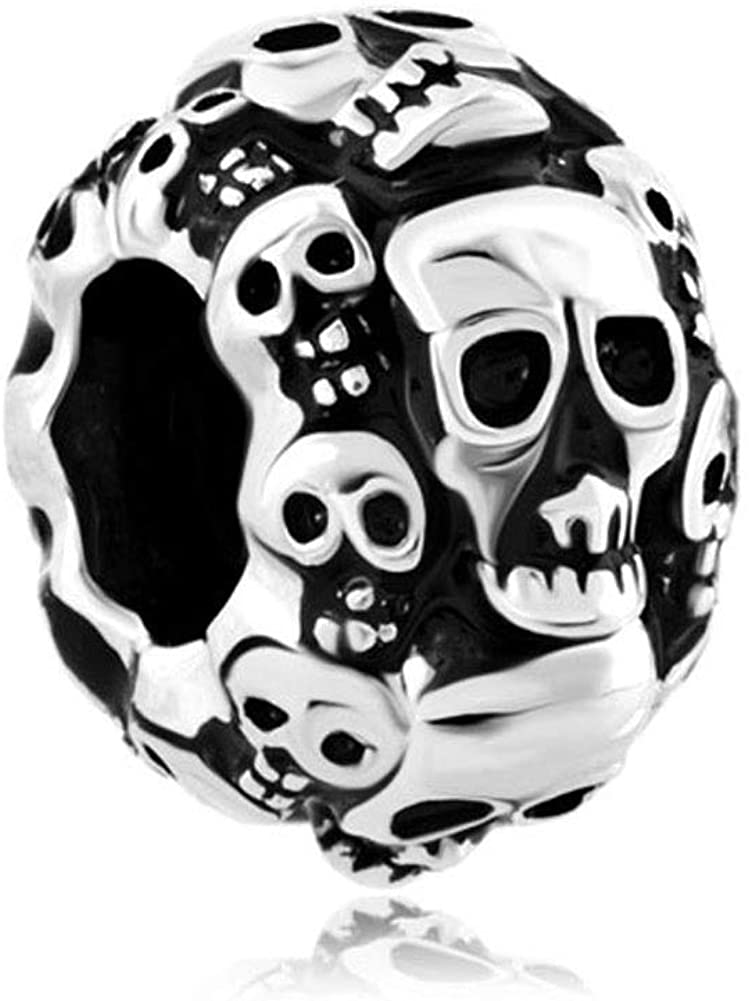 DemiJewelry Sugar Skull Charms Cross Dia De Los Muertos Charm Beads for Bracelets