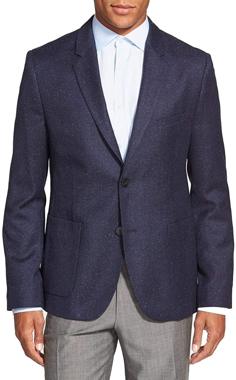 Hugo Boss Men's 'Andto' Slim Fit Wool Silk Blend Blue Sport Coat Blazer, Size 34R