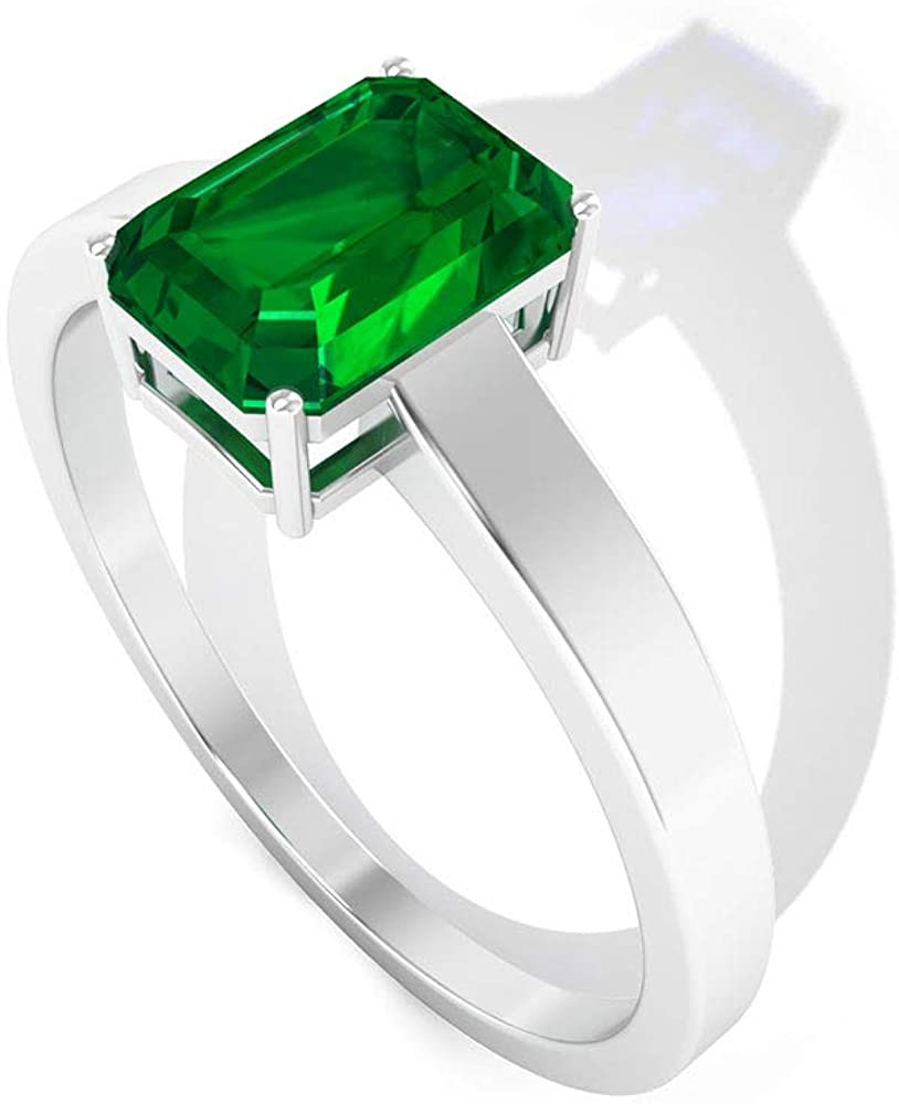 0.9 Ct Octagon Shape Lab Created Emerald Solitaire Ring, IDCL Certified Gemstone Engagement Rin g, Mother Daughter Ring, Bridesmaid Wedding Ring
