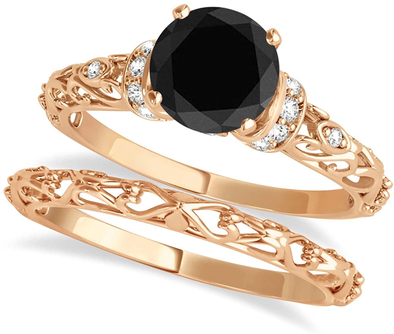 (0.87ct) 18k Rose Gold Black Diamond and Diamond Antique-Style Bridal Set