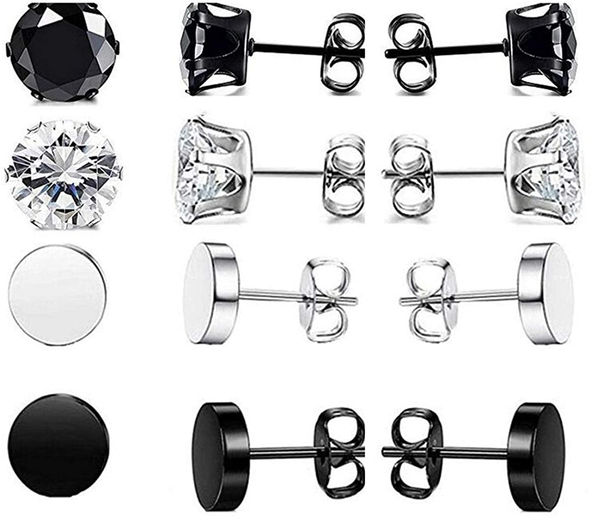 4 Pairs Stainless Steel Stud Earrings for Men Women CZ Round Earrings 8mm(Black Silver)