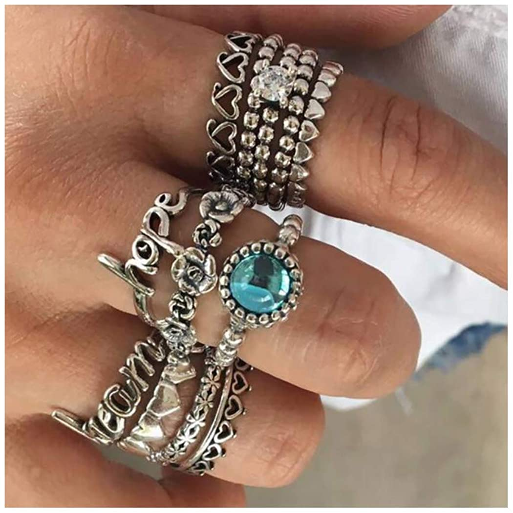 Campsis Boho Rings Set Silver Rhinestone Ring Knuckle Ring Flower Finger Jewelry for Women and Girls