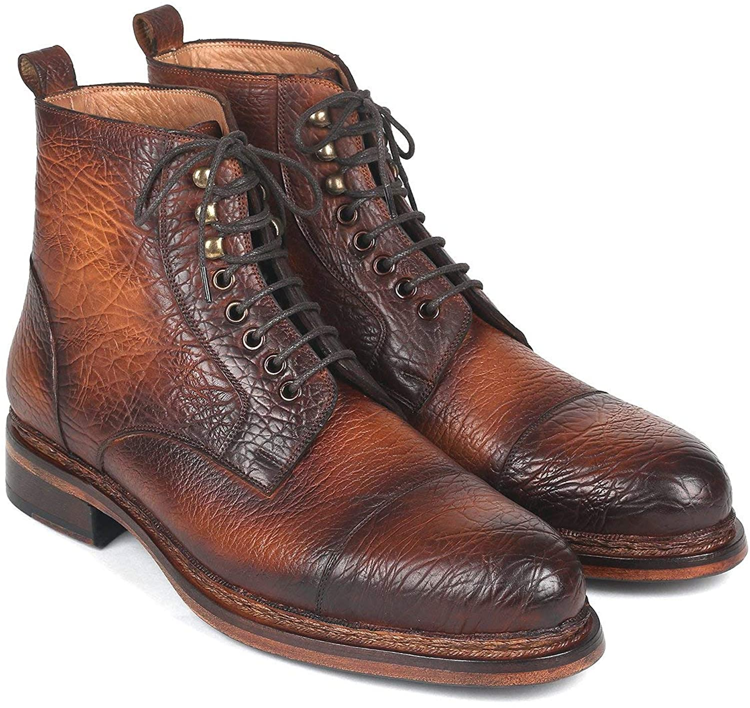 Paul Parkman Antique Burnished Leather Boots Brown (ID#5075-BRW)