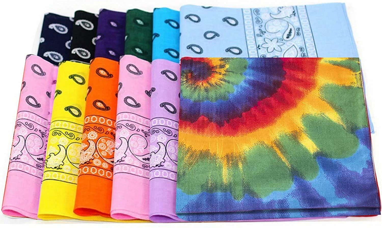 Bandanas, 12-Pack, polyester, head wrap, wristband, wholesale