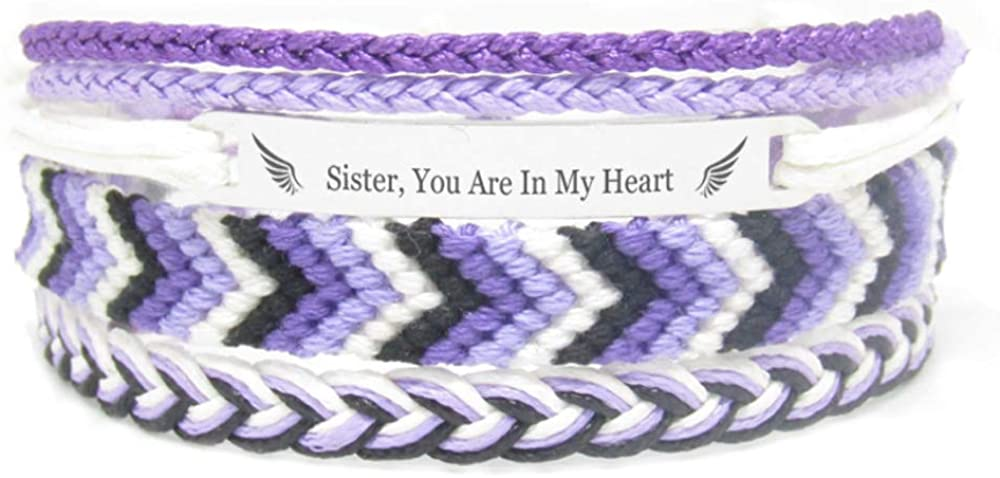Miiras Remembrance Bracelet, Memorial Jewelry - Sister, You are in My Heart - Purple 1- Beautiful Way to Remember Your Sister That is no Longer with You
