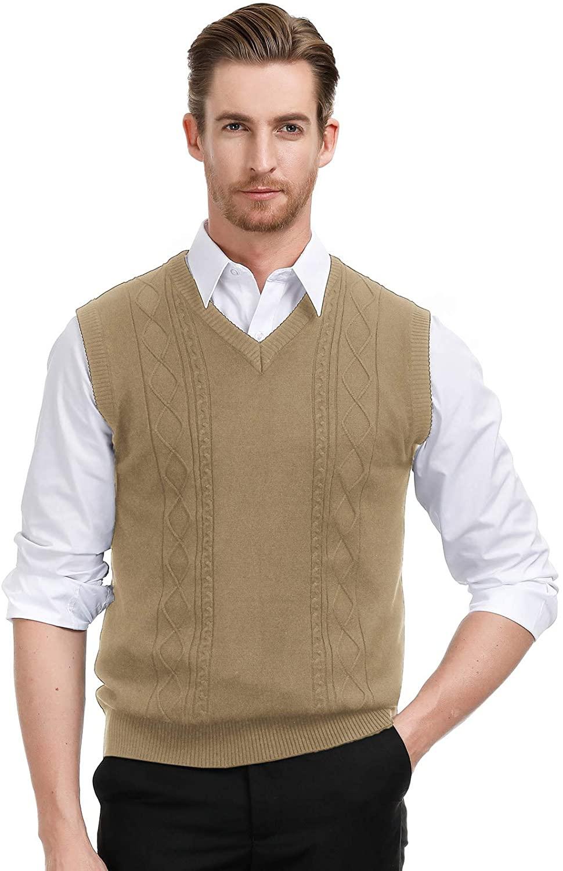 PJ PAUL JONES Men's V Neck Sweater Vest Cable Knitted Pullover Sweaters Vest