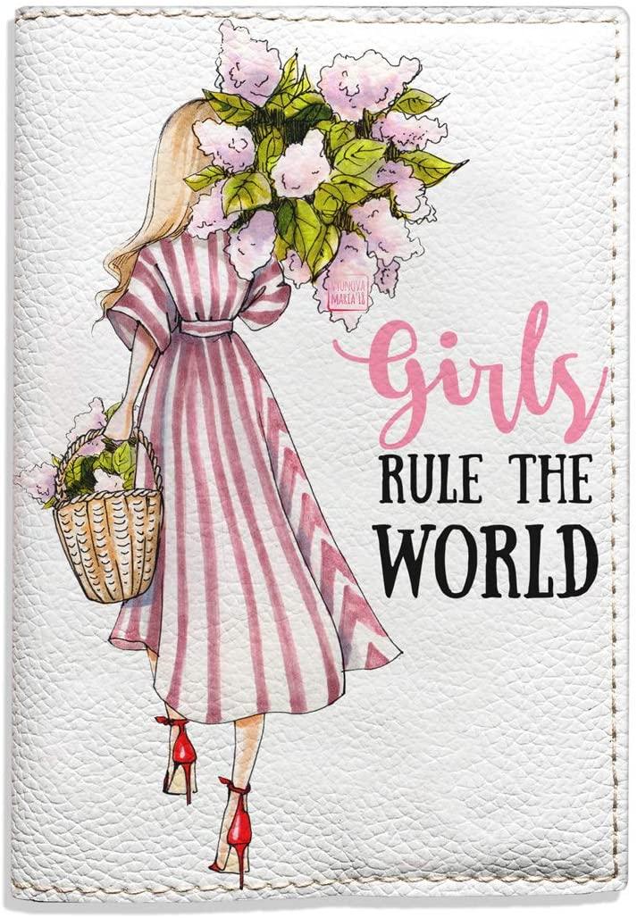 White passport holder Girls rule the world gifts idea fashion illustration stylish designer cover for women for girls