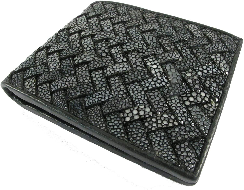 PELGIO Genuine Polished Stingray Shagreen Skin Leather Intrecciato Braid Handmade Bifold Wallet New (Black, [A3] - 6 Cards Slot + 2 ID Windows + 2 Compartment for Bills)