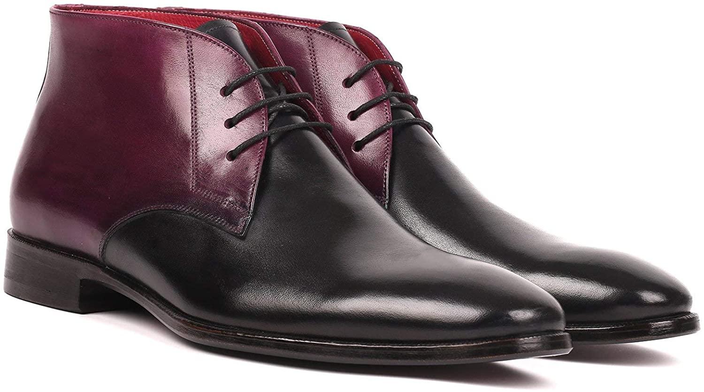 Paul Parkman Mens Chukka Boots Black & Purple (ID#CK68H1)