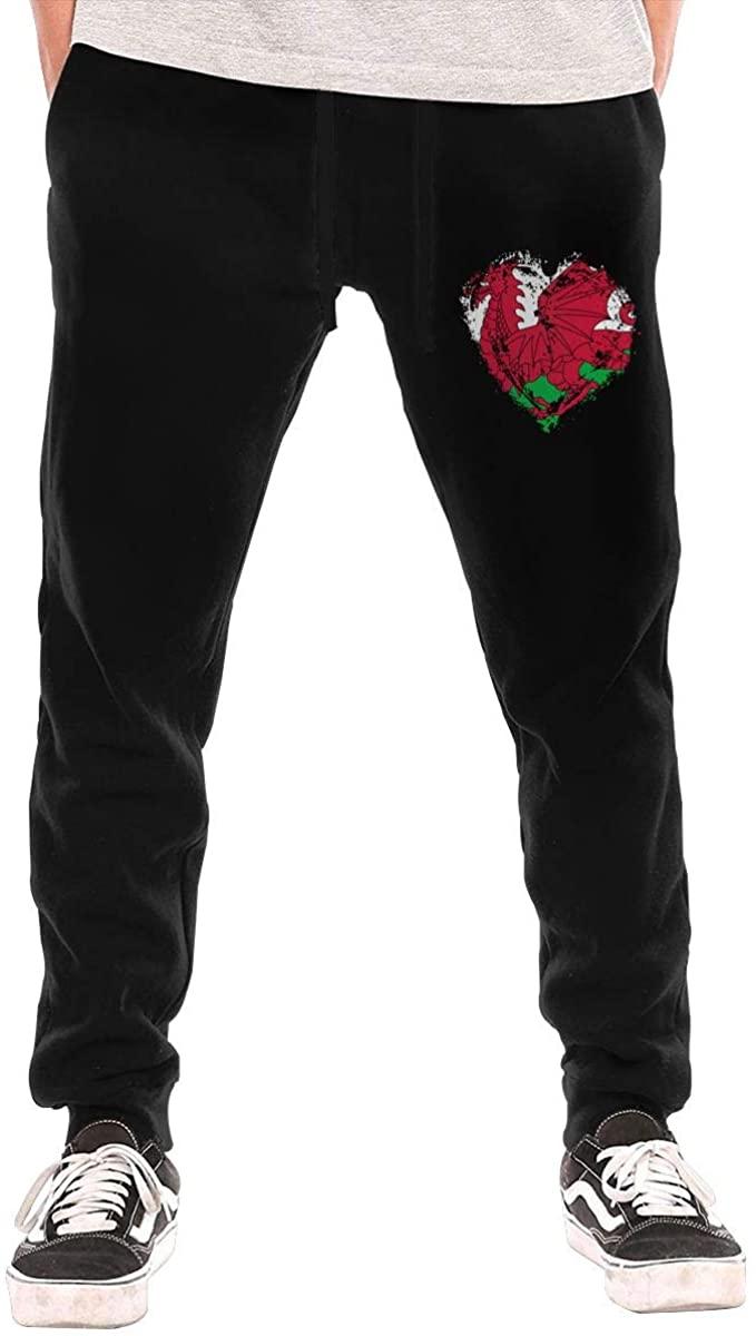 Vintage Welsh Flag Heart Men Sweatpants Jogger Pant Outdoor Bike Running Long Sport Pant