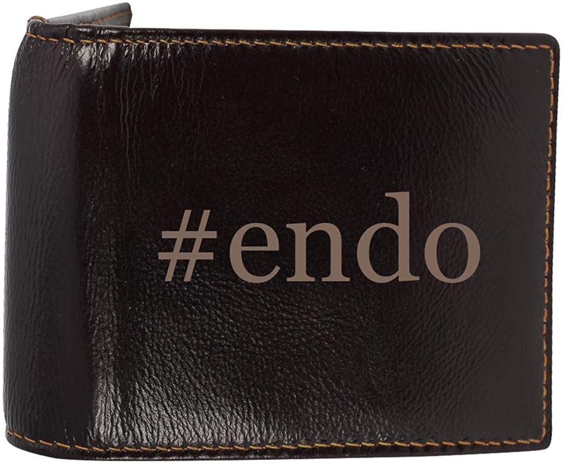 #endo - Genuine Engraved Hashtag Soft Cowhide Bifold Leather Wallet