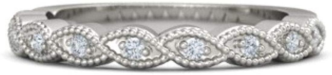 SuperShineGems 14k White Gold Moissanite Anniversary Designer Fine Ring for Girls