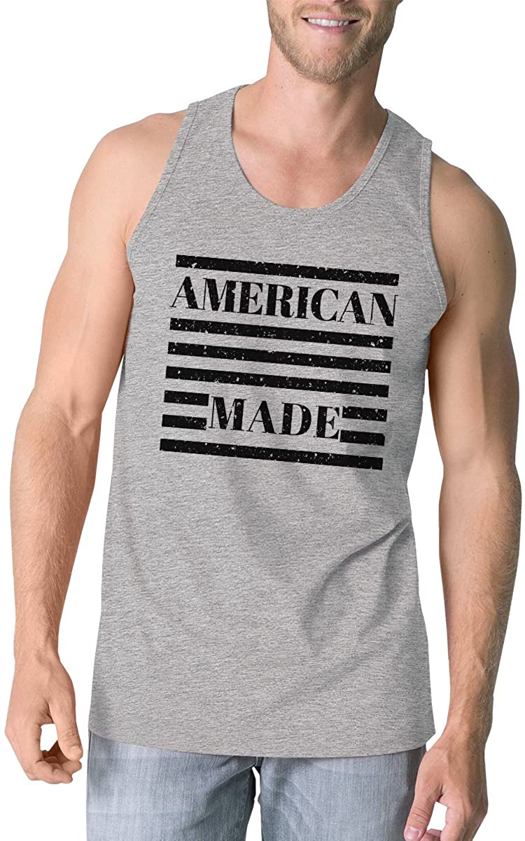 365 Printing American Made Mens Grey Cotton Tanks 4th of July Graphic Tank Top