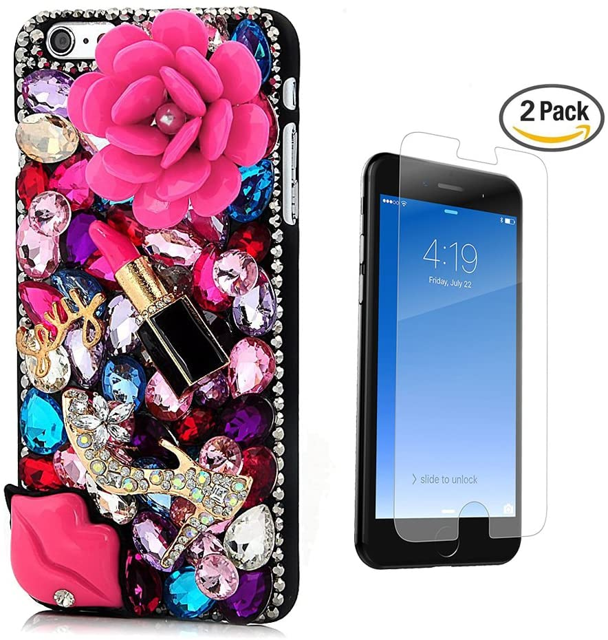 STENES iPhone 6S Case - [Luxurious Series] 3D Handmade Crystal Sparkle Bling Case With Screen Protector & Retro Bowknot Anti Dust Plug - Pretty Rose Crystal High Heel Sexy Lips Lipstick/Colorful