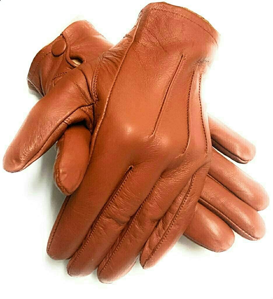 Men's Dress Driving Cycling Genuine Lambskin Leather Unlined Gloves men (Cognac, Medium)