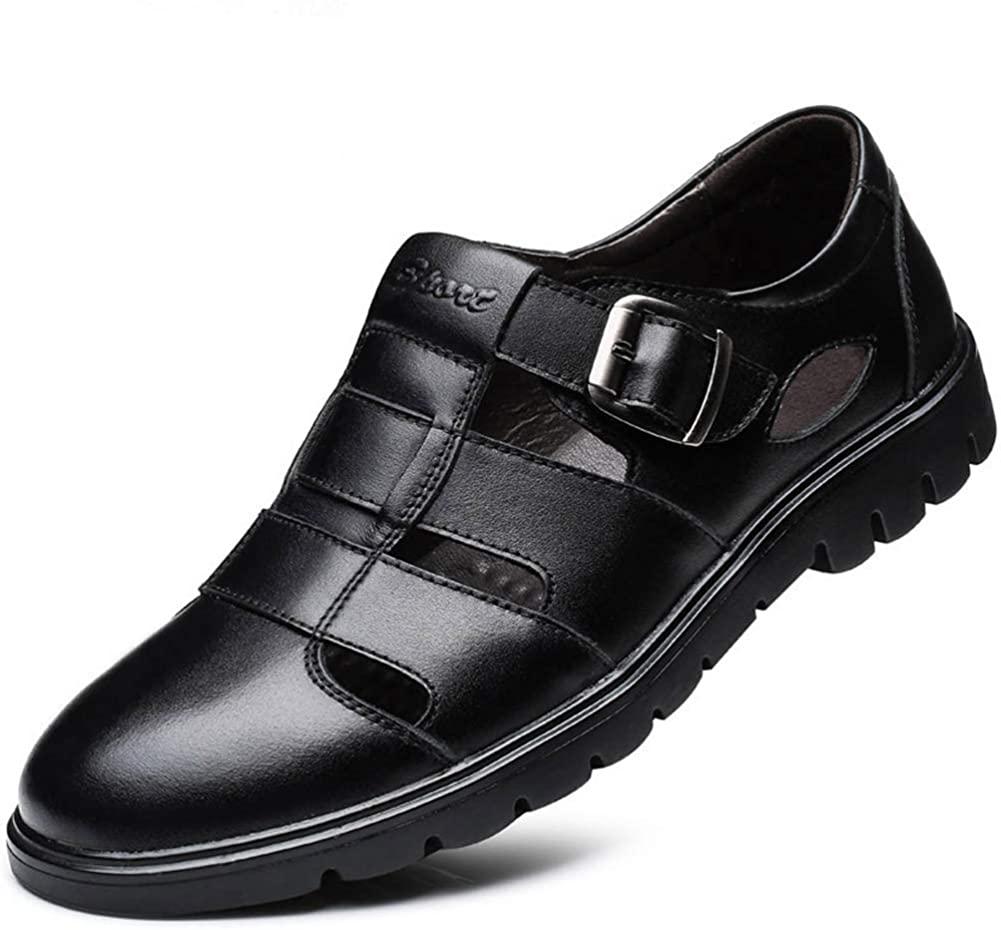 CMM Men's Closed-Toe Leather Strap Business Sandal Cool Beach Sandals Plus Size 12 12.5