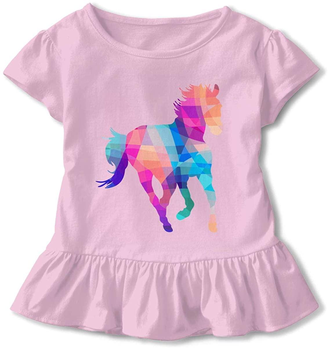 EASON-G Toddler Girl's Ruffle T-Shirt Colorful Horse Short Sleeve 2-6T
