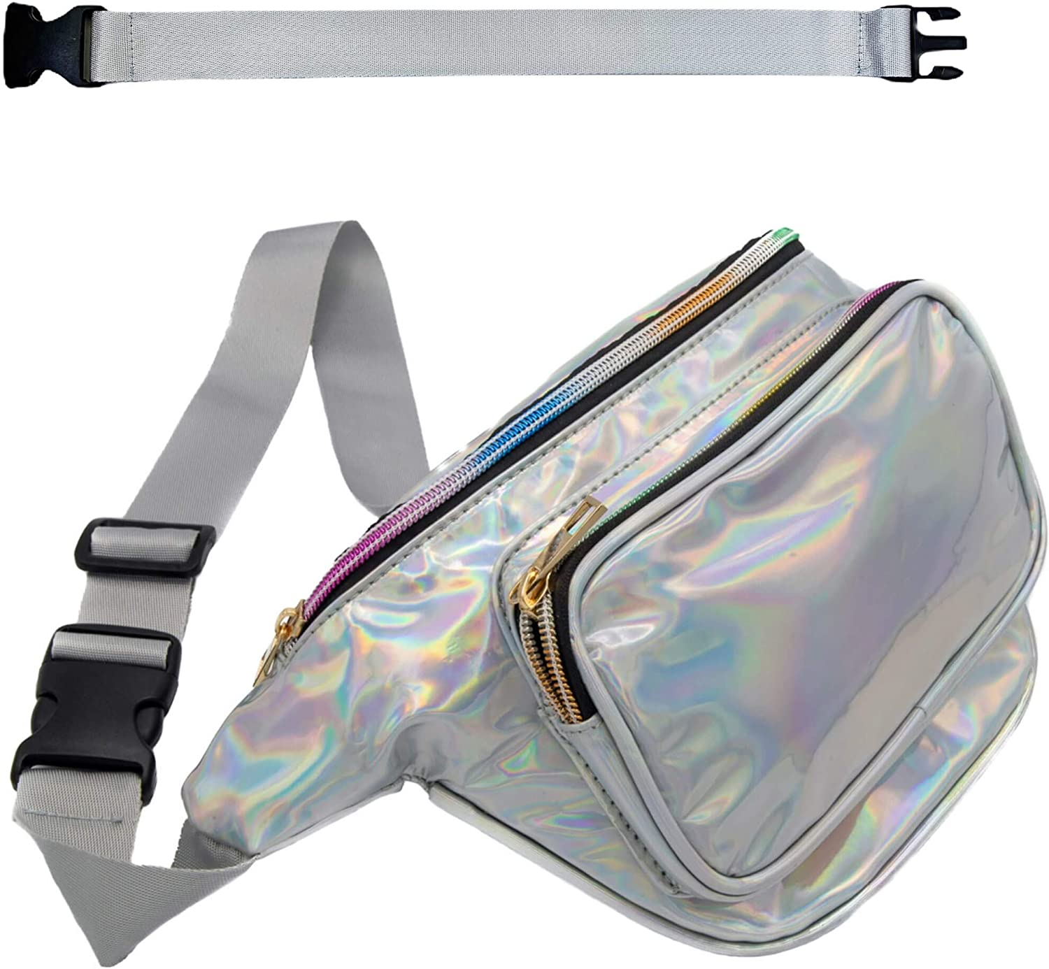 RedOrbis Fanny Packs for Women with Extender - Holographic Fanny Pack for Outdoor Sports Workout Casual Travel Hiking - Plus Size Waist Adjustable Belt Plus Extra Strap - 3 Pockets Water-Resistant