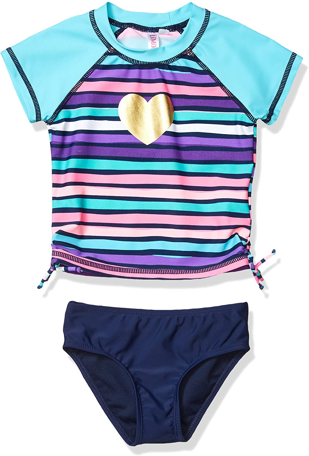 Limited Too Girls' Striped Two Piece Short Sleeve Swimsuit with Heart Graphic