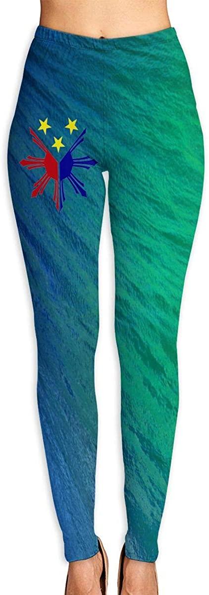 Philippines Pride Star Flag Sun Women's 3D Digital Print High Wait Leggings Yoga Workout Pants