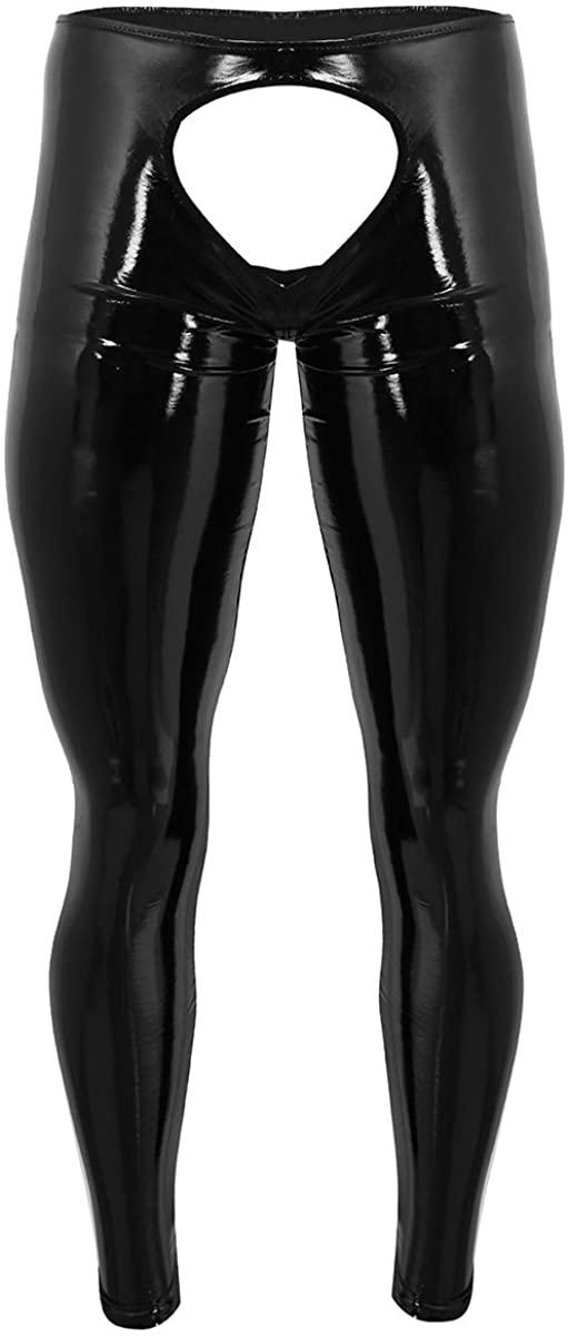 YOOJOO Mens Shiny Wet Look Leather Open Crotch Tight Straight Pants Leggings Trousers Clubwear