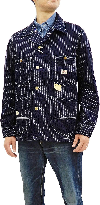 Sugar Cane Men's Wabash Stripe Chore Coat Unlined Railroad Work Jacket SC14372