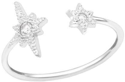 Caratera Girls Open Star Jeweled Rings 925 Sterling Silver