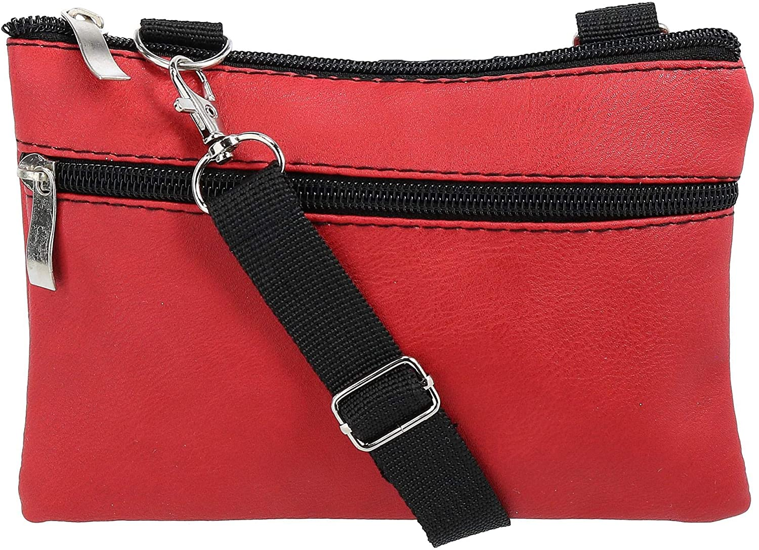 2 Moda Convertible Faux Leather Fashion Waist Pack Crossbody Bag, Red
