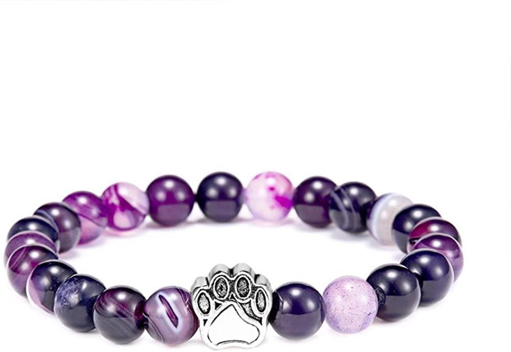 N-A Dog Claw Pendant Hand String 8 mm Agate Stone Dog Claw Elastic Bracelet