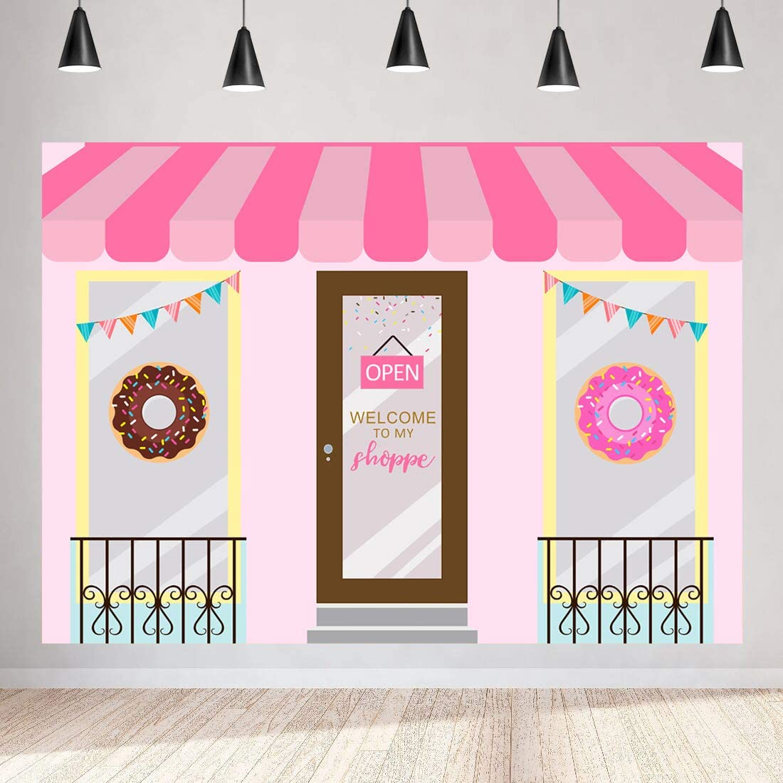 Donut Birthday Theme Backdrop 7x5ft Dessert Shop Photography Backdrops Pink Cartoon Background for Baby Shower Photo Banner Vinyl Party Decorations