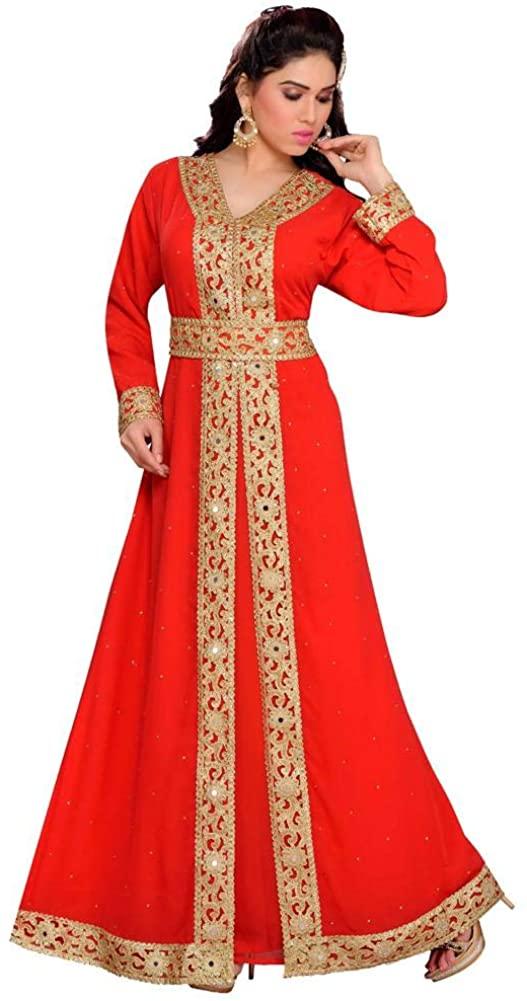Arabic attire V Neckline Moroccan Style Kaftan