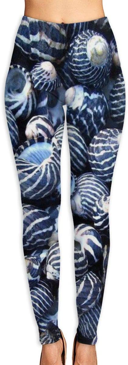 Nzioap0 Women's Soft Lightweight Blue Shells Leggings High Waist Yoga Pants Training Leggings