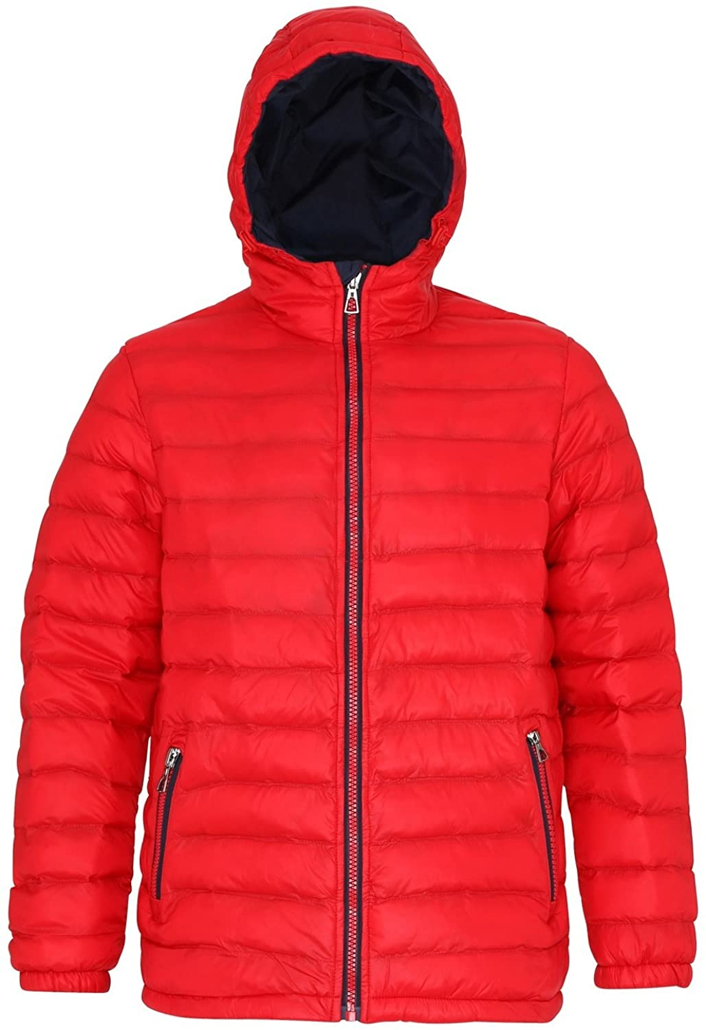 2786 Mens Hooded Water & Wind Resistant Padded Jacket (XL) (Red/Navy)