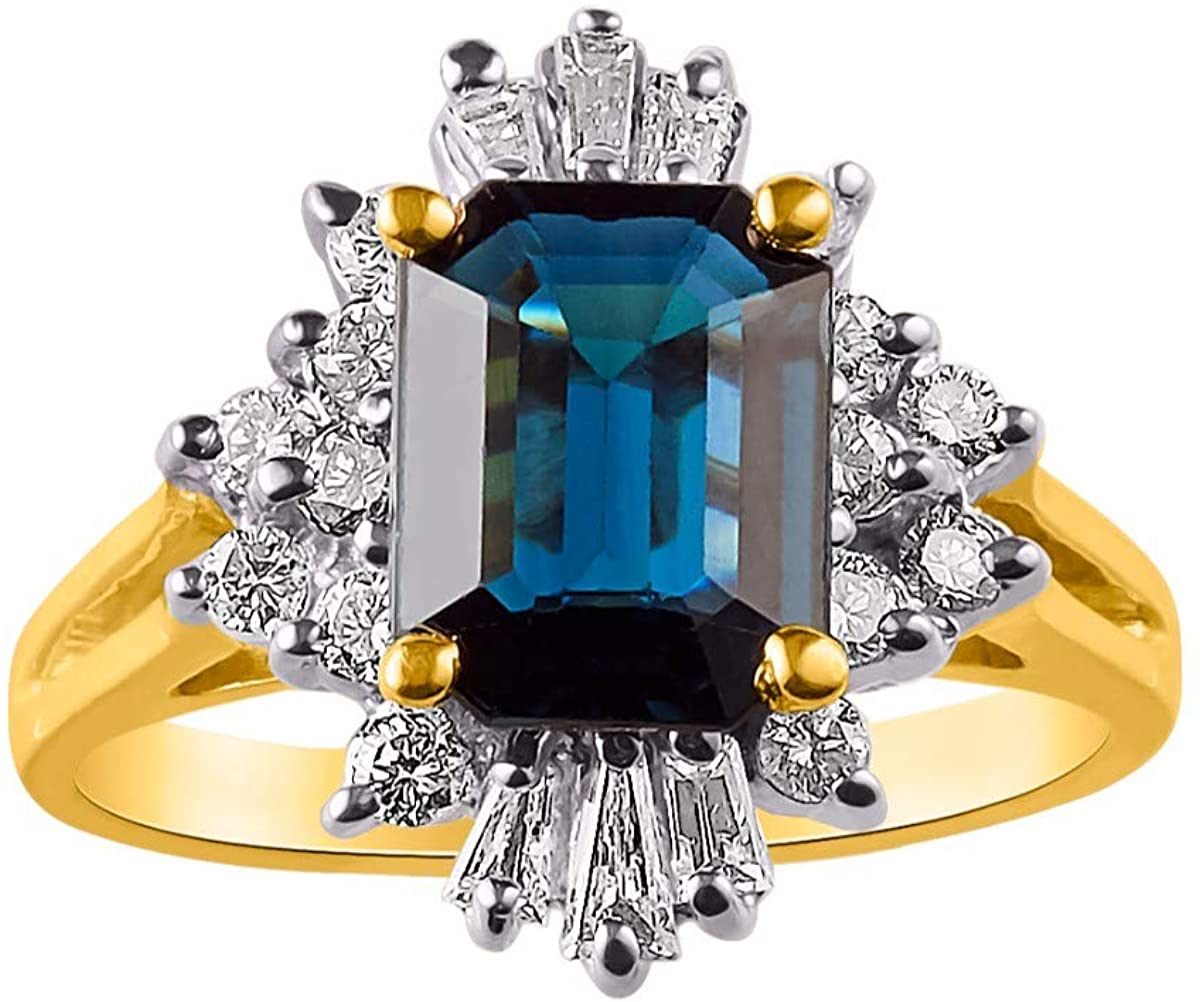 RYLOS Sparkling Round & Baguette Diamonds and Gorgeous Emerald Cut Blue Sapphire Set in this Classic Design Ring in 14K Yellow Gold.