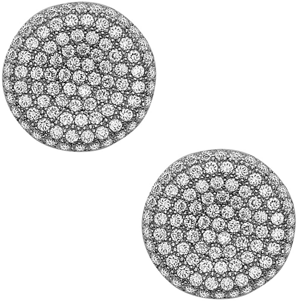 925 Solid Sterling Silver Cubic Zirconia Tiny 12mm Circle Stud Earrings - CZ Mini Dainty Round Jewelry