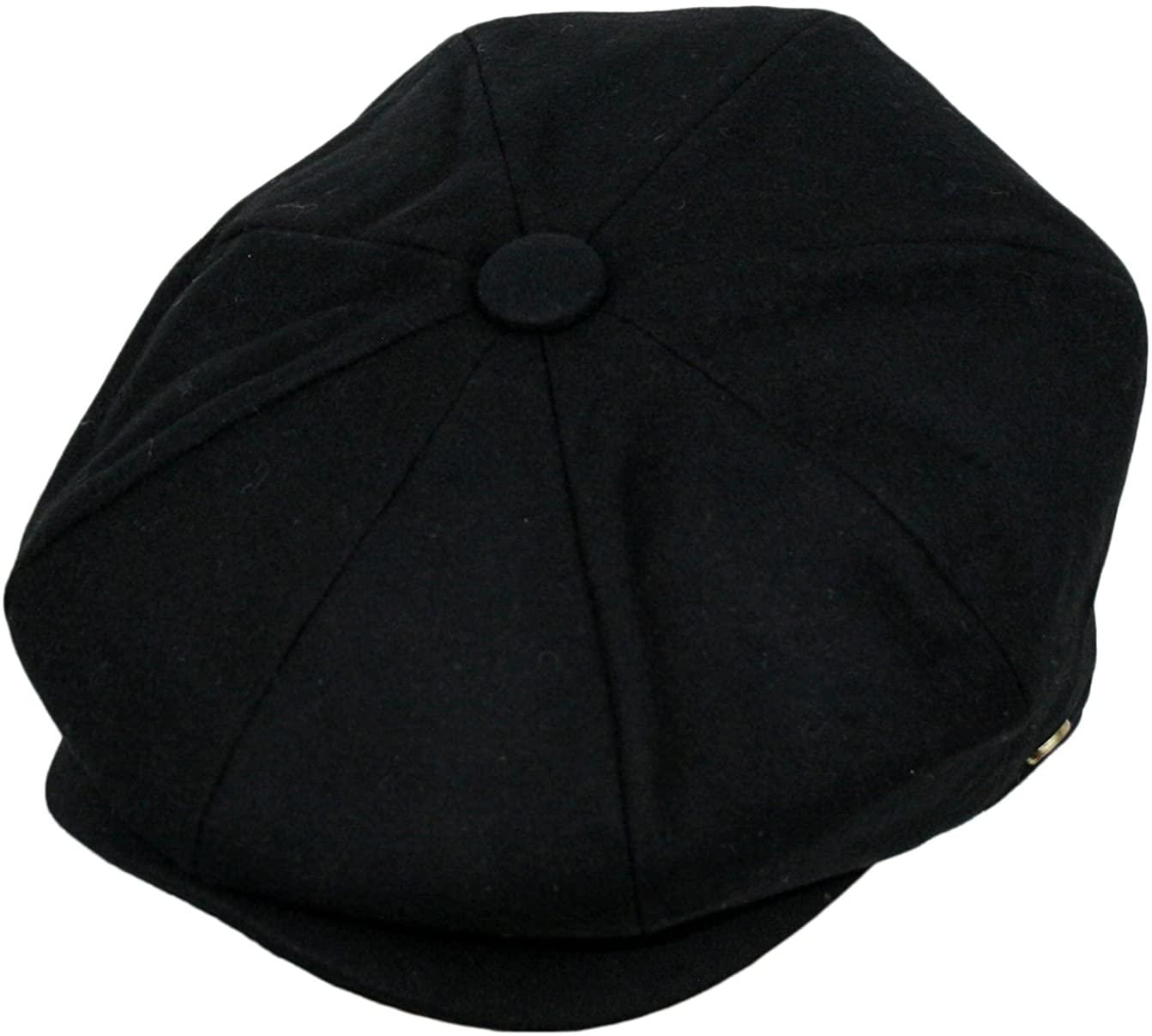 Epoch Men's Classic 8 Panel Wool Blend newsboy Snap Brim Collection Hat, Black, X-Large