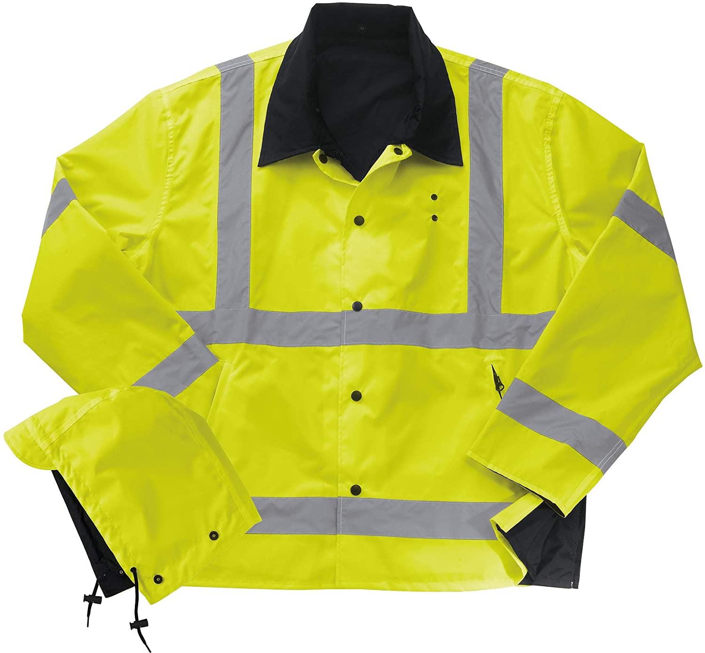 Liberty Uniform Class 3 ANSI Compliant Hi-Visibility Reversible Police Rain Jacket with Hood | Reflective Safety Jacket | Uniform Apparel