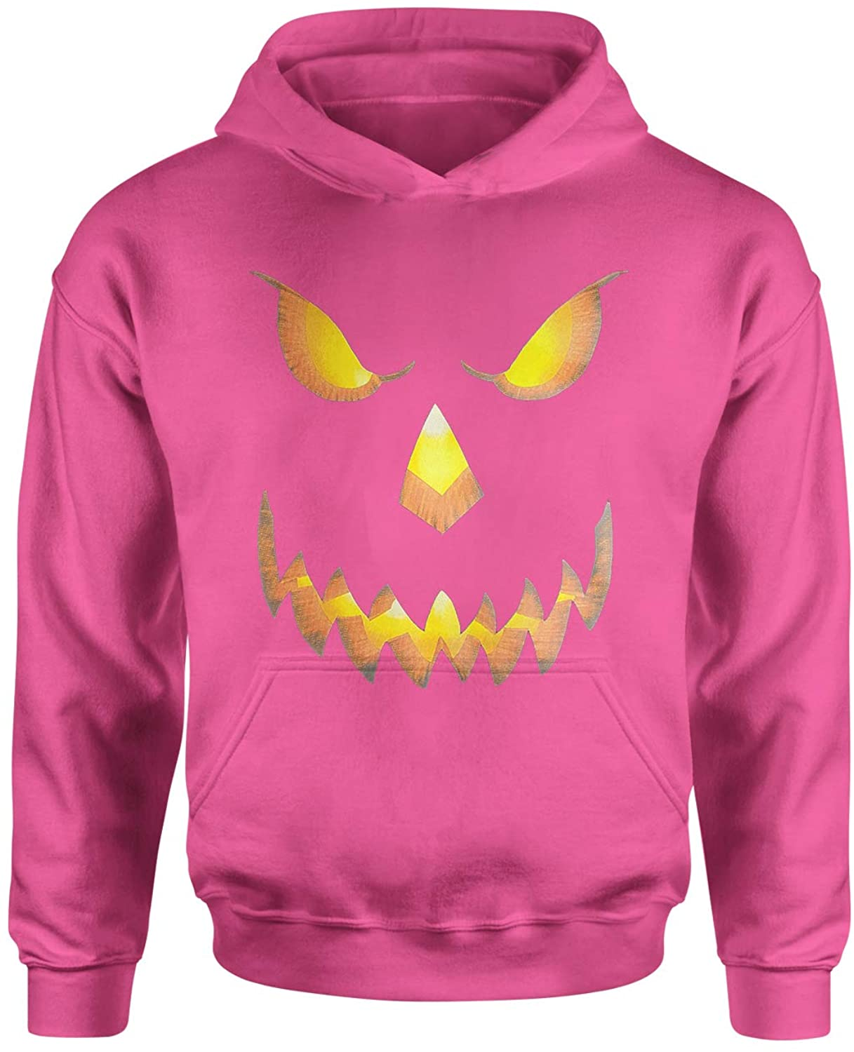 Expression Tees Jack-O-Lantern Glowing Pumpkin Face Halloween Youth-Sized Hoodie