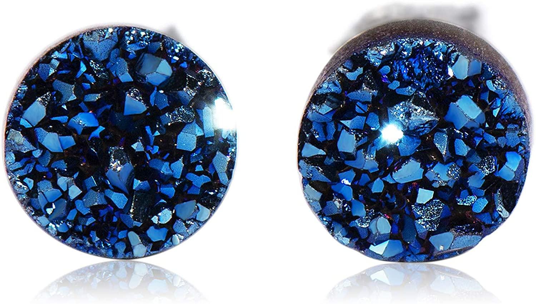 CISHOP Crystal Druse Earrings Studs Round Dot Earrings Sterling Silver Hypoallergenic