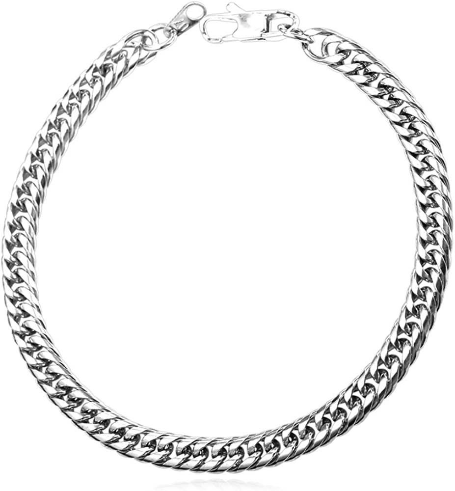 U7 Franco Curb Link Bracelet, 6mm 9mm 12mm Wide (6mm Wide Stainless)