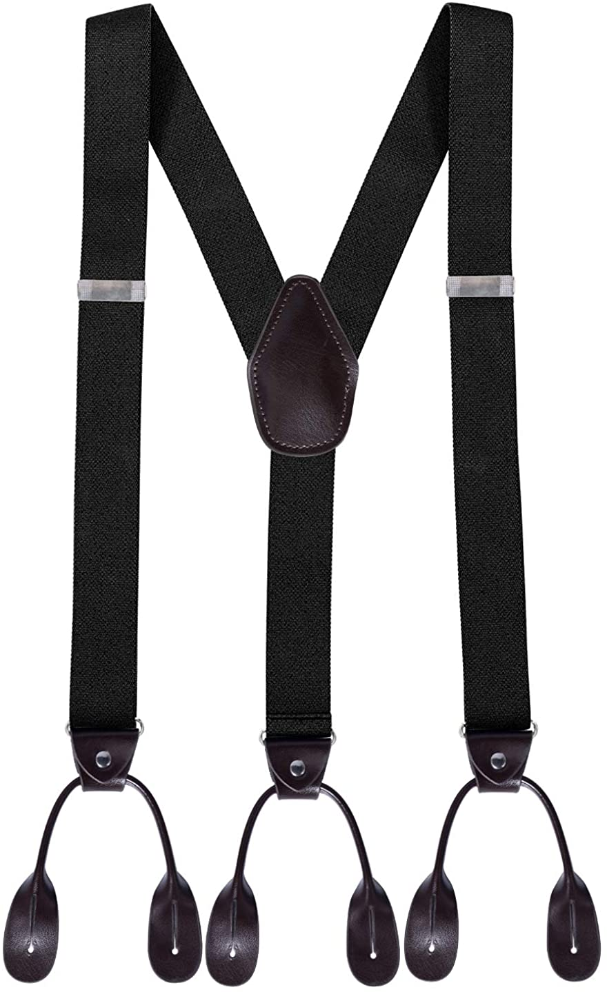 Loritta Mens Y Back Suspenders Leather Trimmed Elastic Button End Tuxedo Suspenders