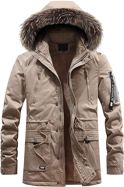 Qhghdgysd Mens Warm Sherpa Lined Winter Parka Down Alternative Jacket Removable Fur Hood