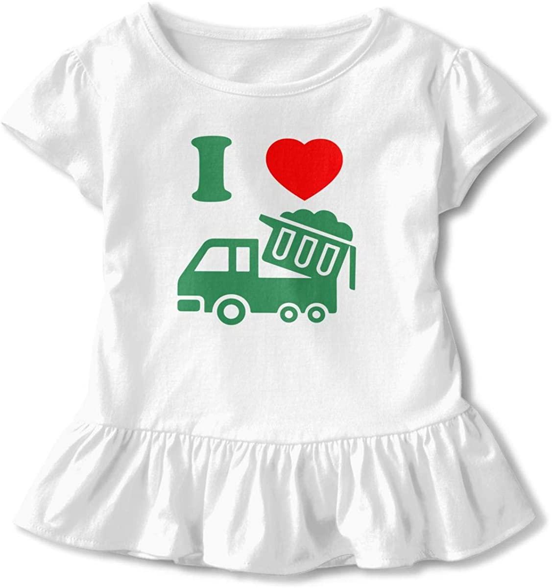 Toddler Girl's Ruffle T-Shirt I Love Trash Trucks Short Sleeve 2-6T