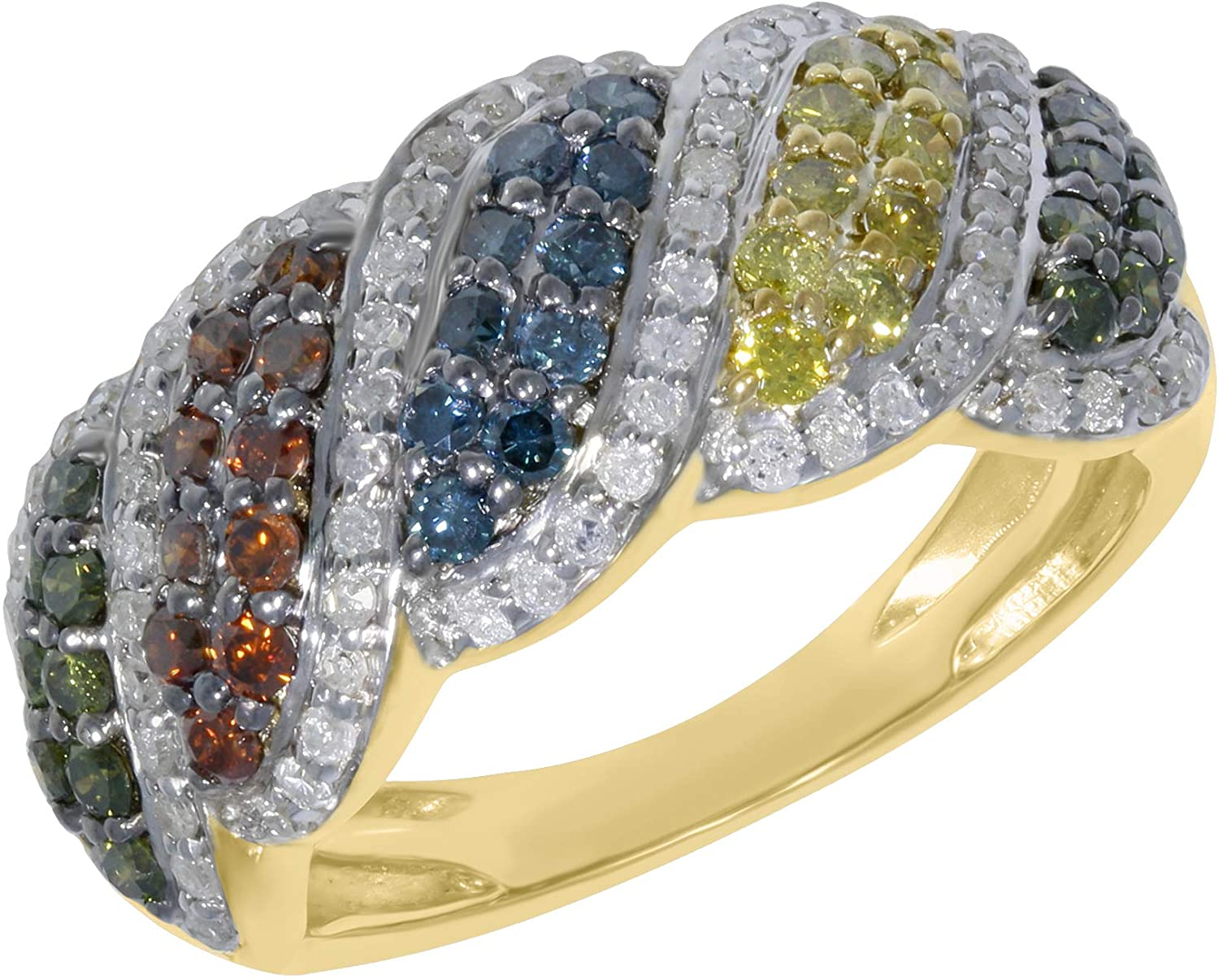1.06Ct Multi Color Diamond Wave Style Engagement Ring, Yellow Gold Plated Silver, Size 5.5