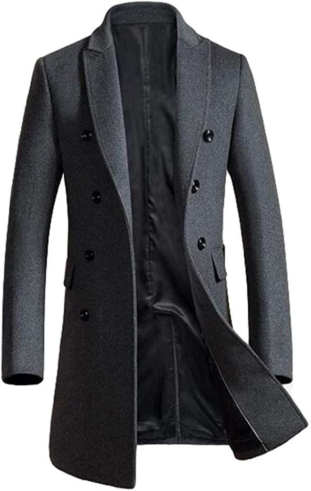 Minibee Men's Woolen Trench Coat Double Breasted Slim Fit Winter Overcoat Long Jacket Business Pea Jacket