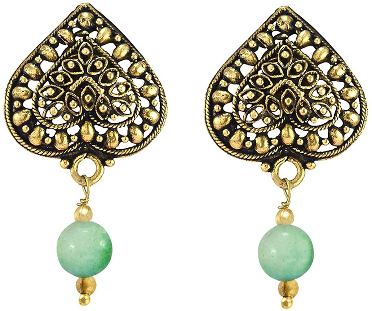 Saamarth Impex Trendy Fashion- 6mm Bead Handmade Jewelry Manufacturer Green Jade, Brass, Jaipur Rajasthan India Heart Charm Drop Earring