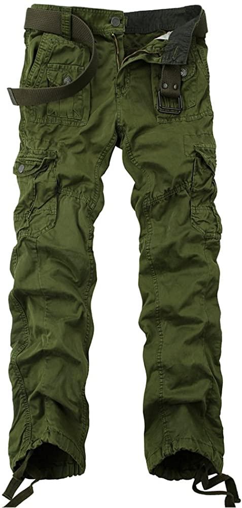 OCHENTA Men's Multi Pockets Casual Cargo Pant #3380 Army Green 32