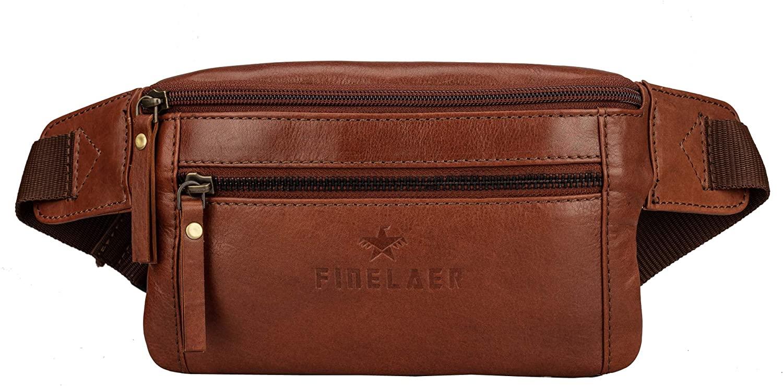 Finelaer Dark Brown Leather Fanny Waist Travel Hiking Beach Bag