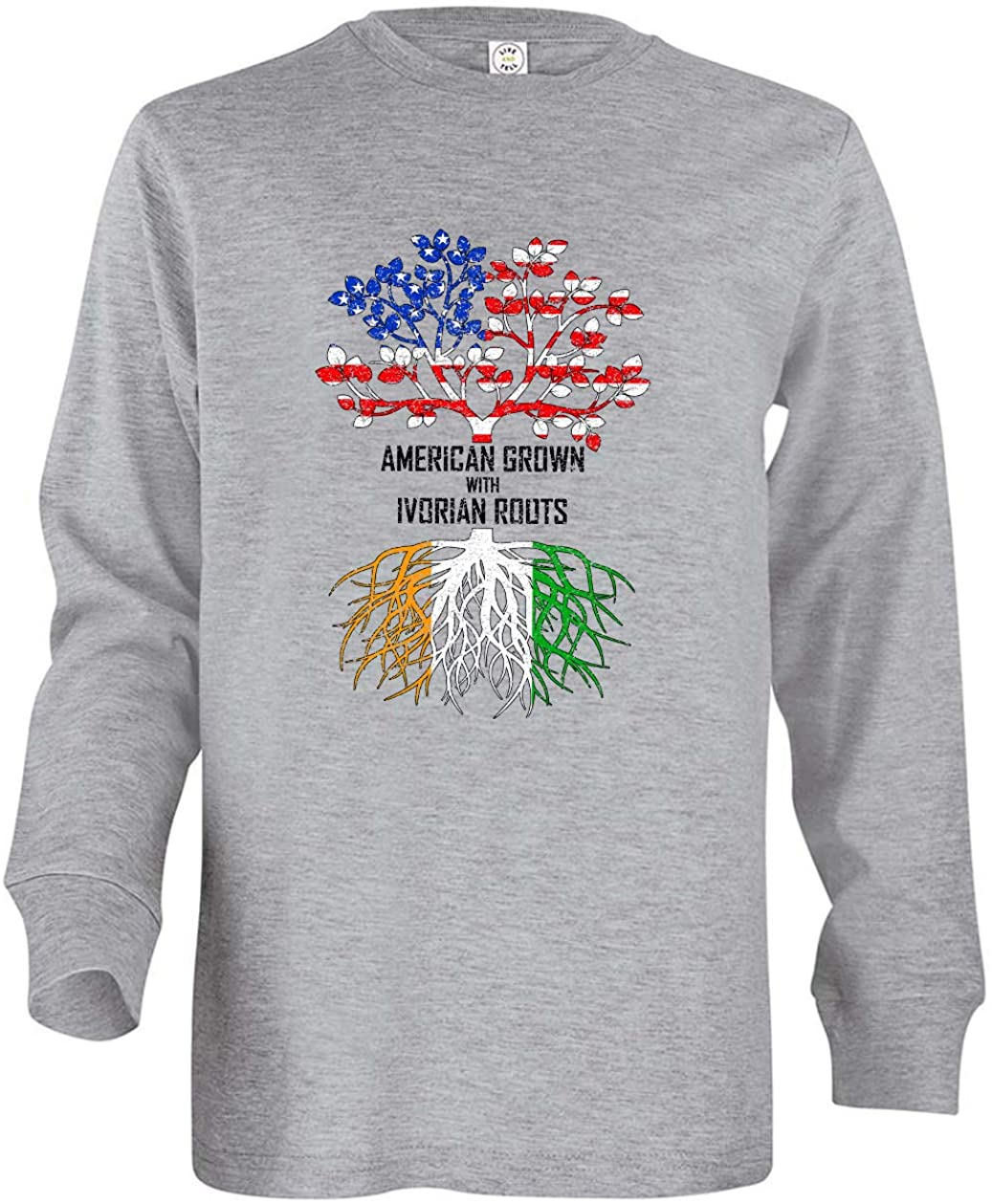 Tenacitee Girl's Youth American Grown with Ivorian Roots Long Sleeve T-Shirt
